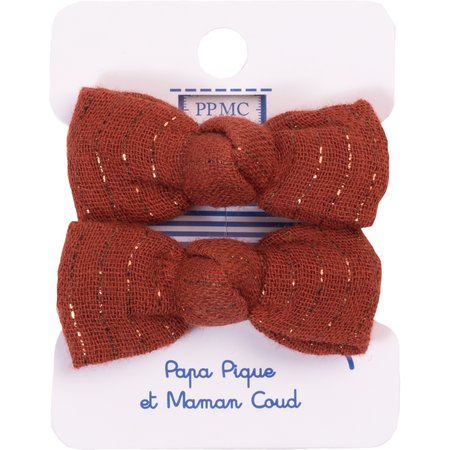 Small elastic bows lurex terracotta gauze