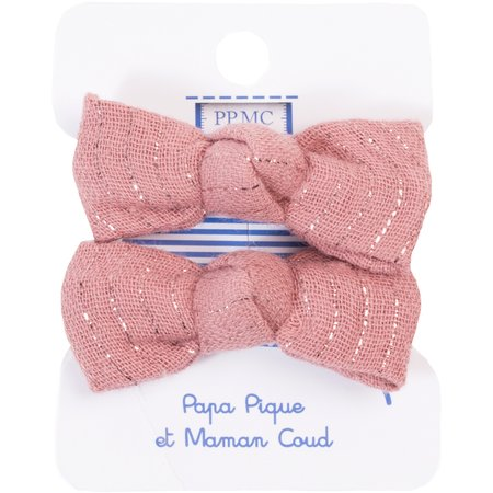 Small elastic bows dusty pink lurex gauze
