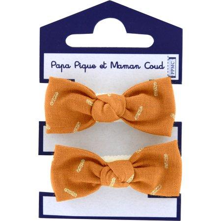 Small elastic bows caramel golden straw