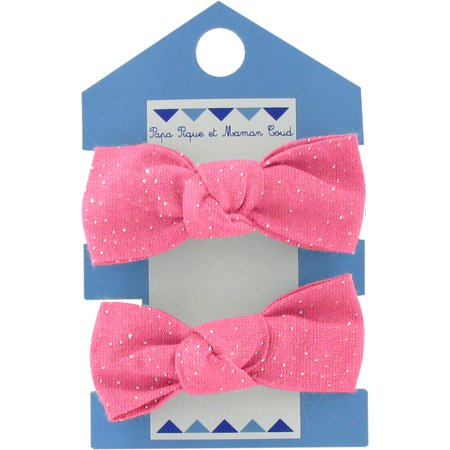 Small elastic bows rose pailleté