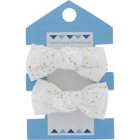 Small elastic bows white sequined