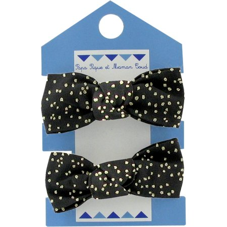 Small elastic bows noir pailleté