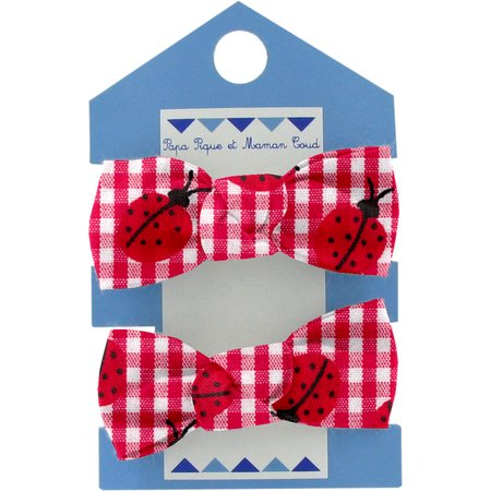 Small elastic bows ladybird gingham