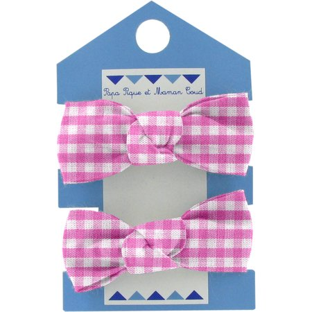 Small elastic bows fuschia gingham