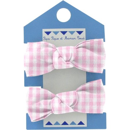 Small elastic bows pink gingham
