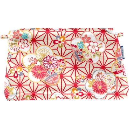 Pochette coton  origamis fleuris
