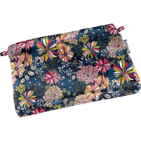 Mini pochette coton dahlia rose marine