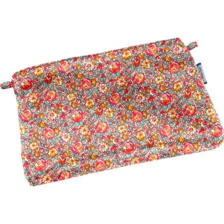 Mini pochette coton floral pêche