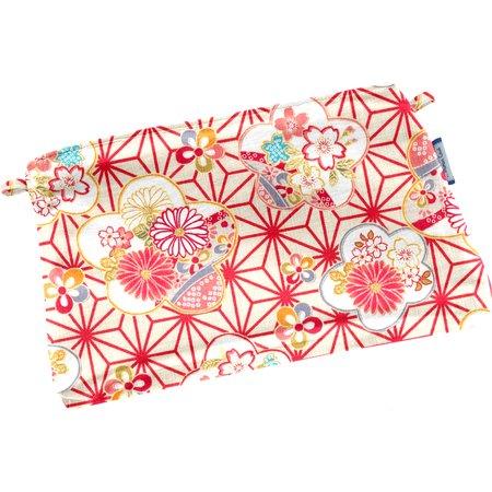 Mini pochette coton   origamis fleuris