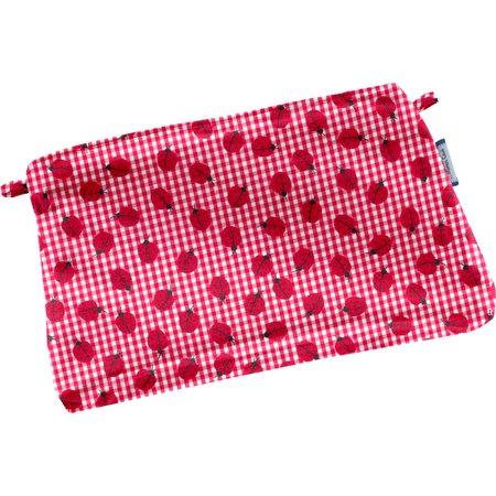 Mini estuche de tela  cuadros vichy rojo y mariquitas