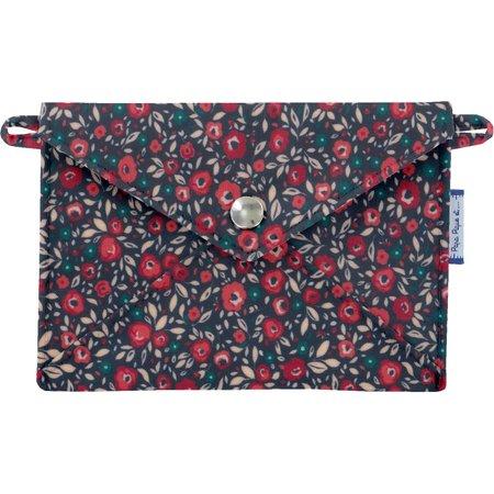 Petite pochette enveloppe camelias rubis