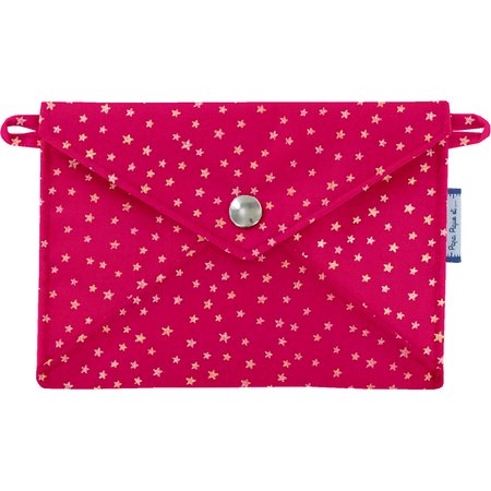 Little envelope clutch fuchsia gold star