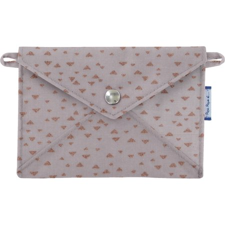 Little envelope clutch triangle cuivré gris