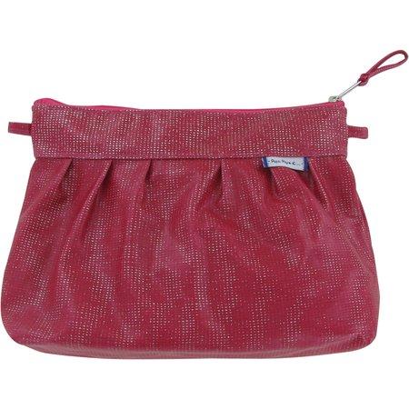 Pleated clutch bag silver fuchsia