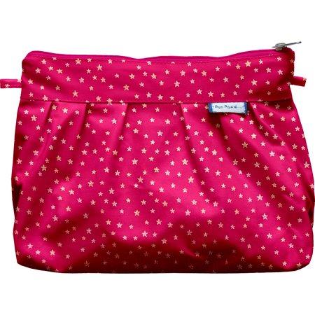 Pleated clutch bag etoile or fuchsia