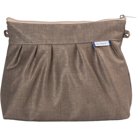 Pleated clutch bag copper linen