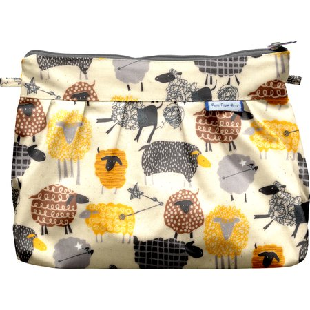 Pleated clutch bag yellow sheep