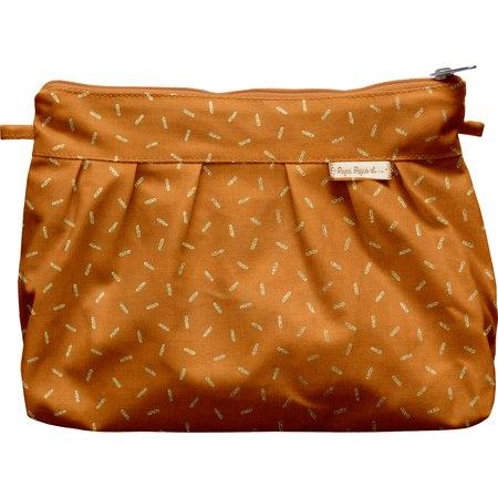Pleated clutch bag caramel golden straw