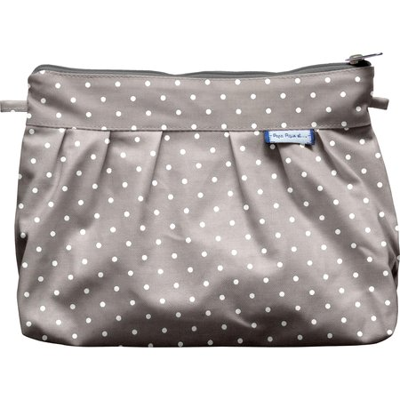 Pleated clutch bag light grey spots