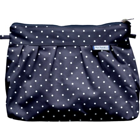 Pleated clutch bag navy blue spots