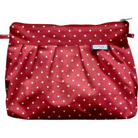 Pleated clutch bag red spots