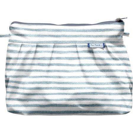 Pleated clutch bag striped blue gray glitter