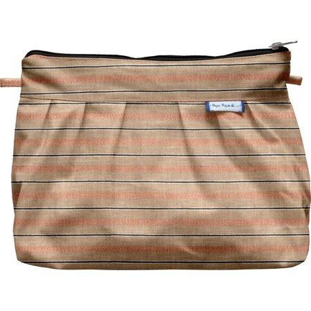 Pleated clutch bag bronze copper stripe