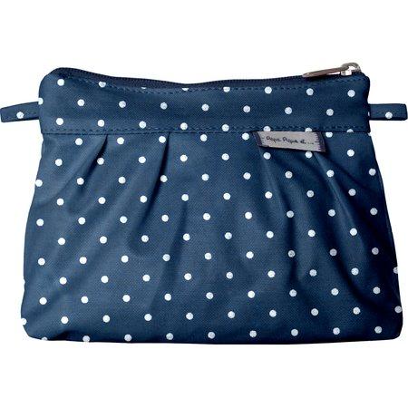 Mini Pleated clutch bag navy blue spots