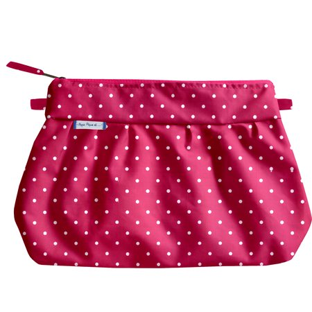 Pleated clutch bag fuschia spots