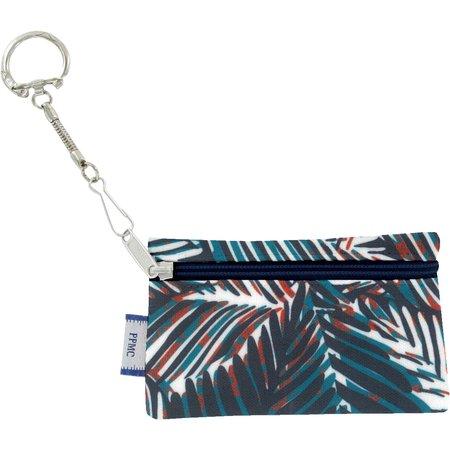 Pochette porte-clés feuillage marine