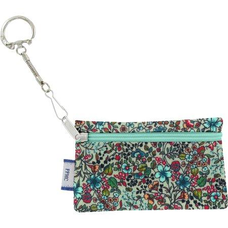 Pochette porte-clés fleur mentholé