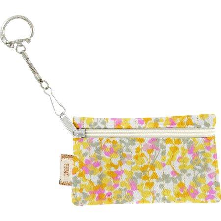 Pochette porte-clés mimosa jaune rose