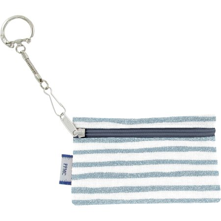 Keyring  wallet striped blue gray glitter