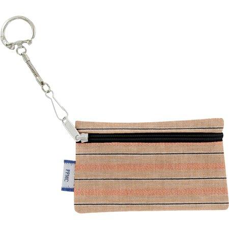 Pochette porte-clés rayure bronze cuivrée