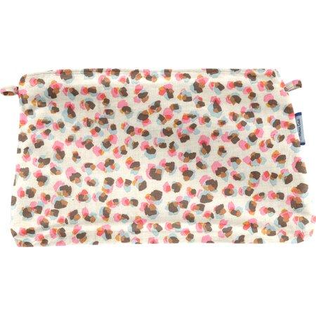 Pochette tissu confetti aqua