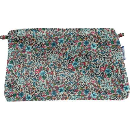 Pochette tissu fleur mentholé