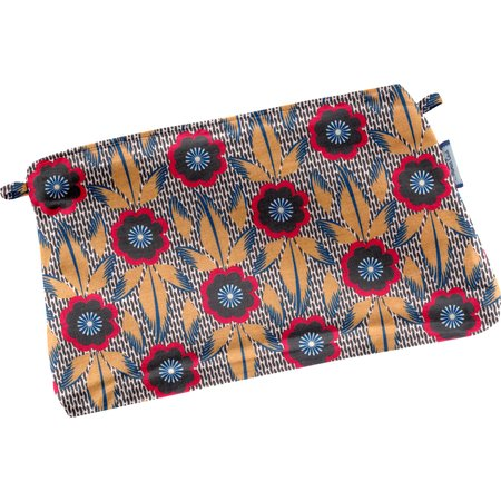 Mini pochette tissu fleurs de savane