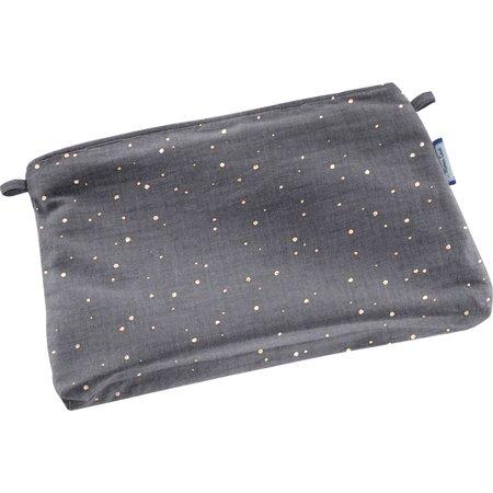 Mini pochette tissu gaze gris or