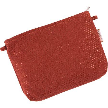Mini pochette tissu gaze lurex terracotta