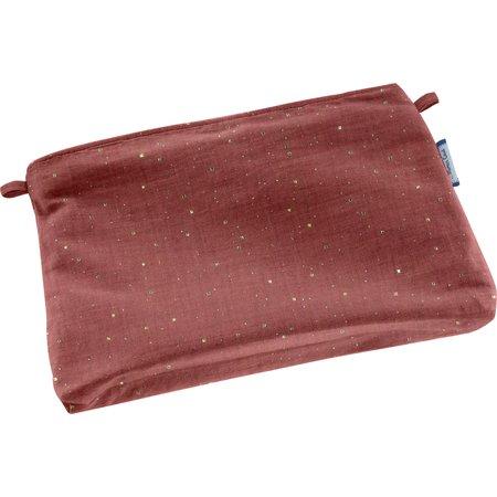 Mini pochette tissu gaze pois or rouille