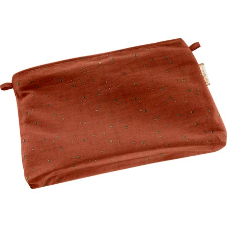 Mini pochette tissu gaze terracotta or