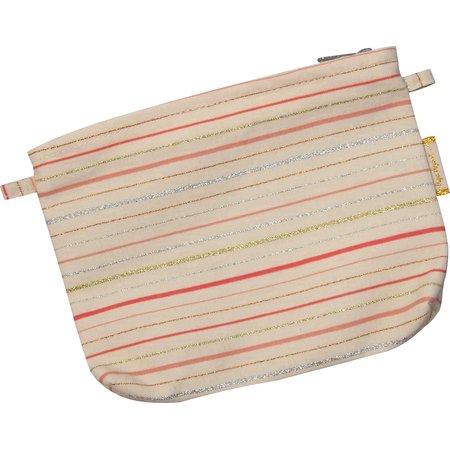 Tiny coton clutch bag silver pink striped
