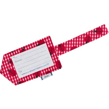 Luggage Tag ladybird gingham