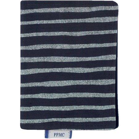 Card holder striped silver dark blue