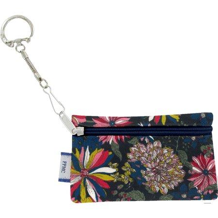 Pochette porte-clés dahlia rose marine