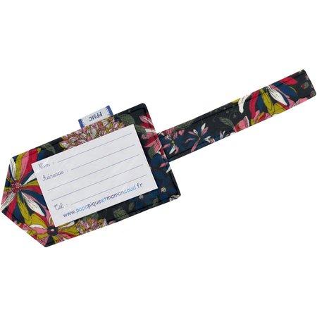 Etiquette bagage dahlia rose marine