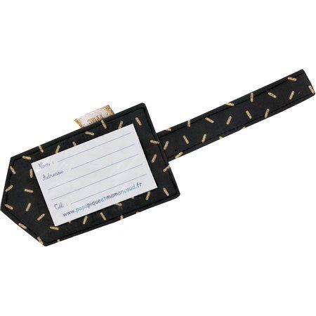 Etiquette bagage  paille dorée noir