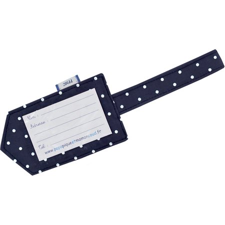 Luggage Tag navy blue spots