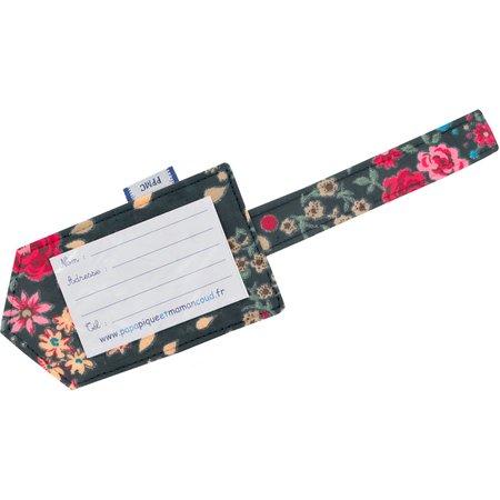 Etiquette bagage rose argentée