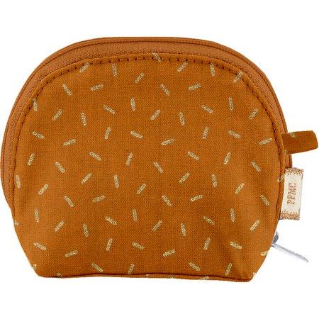 gusset coin purse caramel golden straw